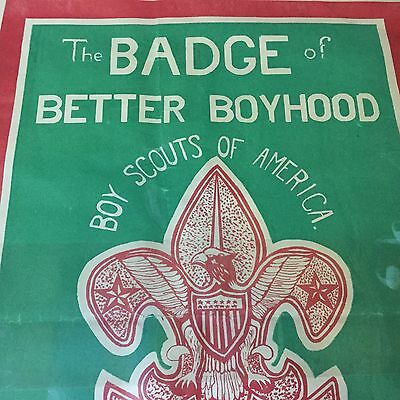 """Boy Scout Poster The Badge Of Better Boyhood 25"""" x 19"""""""