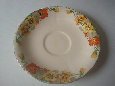"""VINTAGE Alfred Meakin - YELLOW & ORANGE FLOWERS """"BY"""" Saucer - England (14.3cm)"""