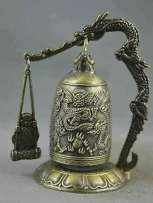Collectible Handwork Copper Carved Knock Dragon Bite Bell Exorcism Lucky Statue