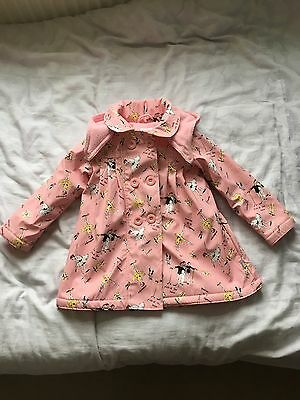 Girls Ballerinas Waterproof Mac, Fleece Lined PINK Coat Age 2/3 Years