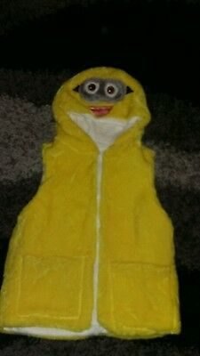 Minion kids fur gillet with hood size m approx 5-8 years