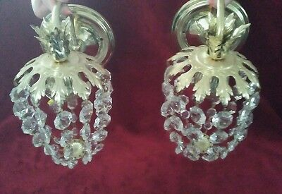 Pair Vintage Hollywood Regency style Crystal? Glass? Prisms  Wall Sconces Lamps