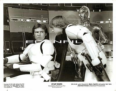 Vintage Original 8X10- Star Wars, Mark Hamill, Harrison Ford & C3Po- 1977 Orig.