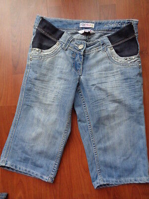 Red Herring Maternity Blue Denim Under Bump Jeans Shorts Size 8