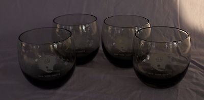 Vintage NY Giants~NFL - Smoke Color Roly Poly Glass Tumbler x4 - Mid Century MCM