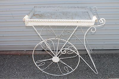Vintage Wrought Iron Metal White French Flower Plant Garden Yard Serving Cart