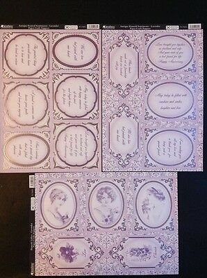 Kanban paper craft toppers 3 sheets x Damask Ladies Lavender and Sentiments