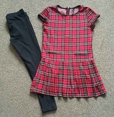 Next Girls Outfit Set 10 Years Tartan Dress With Black Tights UK Stock Free P&P