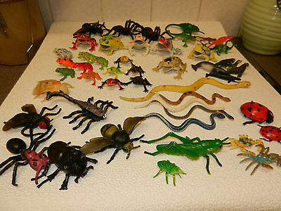 Plastic Job Lot Frogs,flys,snakes,lizards 51 In Total
