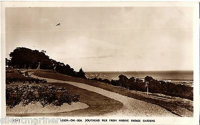 Leigh on Sea from Marine Parade Gardens, RP postcard, posted 1961