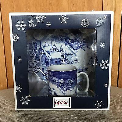 "Spode Blue Christmas cup & plate set ""Santa's Big Day"". New"