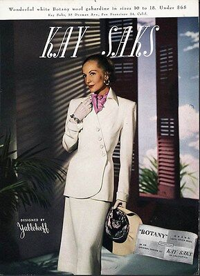 1947 WHITE SUIT Sophisticated Fashion by YABLOKOFF - Kay Saks San Francisco