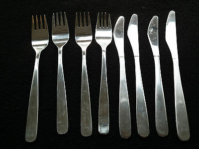 8 Vintage British Airways stainless knives and forks 1980's, four of each