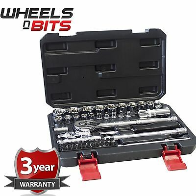 "Heavy Duty 52Pc 1/4"" & 3/8"" 12 Point Socket Ratchet Extension Bar Bit Set & Case"