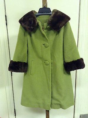 Vintage 50'/60's Green Wool & Real Fur Collar & Cuff Swing Coat Union Made