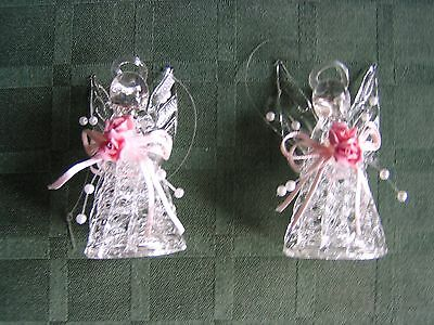 "Set of 2 Delicate ""Glass"" Angel Christmas Ornaments W/Pearls Pink Bows&Roses-NEW"