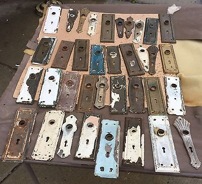 Vintage Architectural Salvage Door Backplates Lot Of 36
