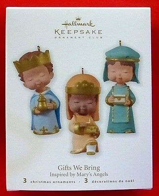 Hallmark 2010 GIFTS WE BRING -3 Ornaments Inspired by Mary's Angels MIB Nativity