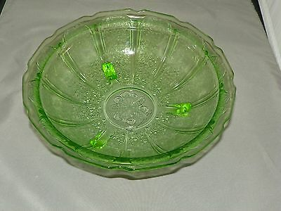 Green Cherry Blossom Jeannette Depression Glass 1930-1939 LARGE 3 FOOTED BOWL