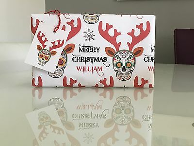 """Personalised Christmas Wrapping Paper """"Sugar Skull Rudolph"""" with two tags."""