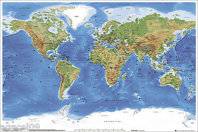 Physical Map of the World Maxi size 91.5 x 61cm Poster Wall Education Aid New