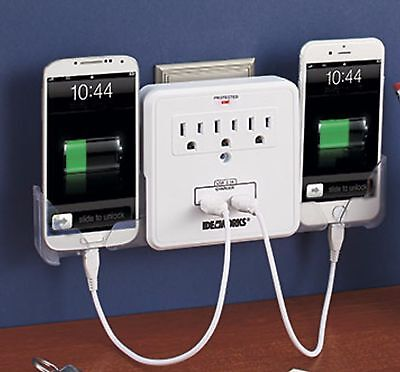 2 USB 3 Outlets Multiplier 2 Phone Chargers Surge Protector White Universal NEW