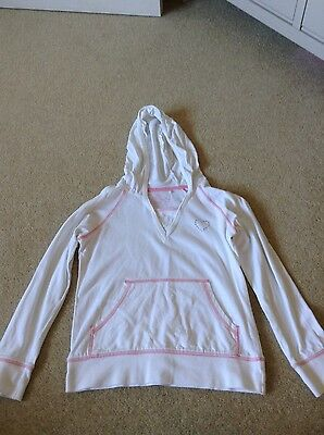 Girls White Pink Sweatshirt Style Hooded Top Hoodie Age 8-9