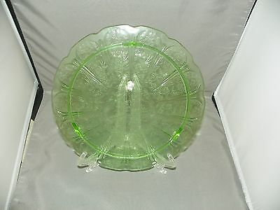 Green Cherry Blossom Jeannette Depression Glass 1930-1939 3 FOOTED CAKE PLATE