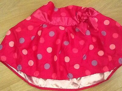 Girls silky party skirt, pink with spots, age 3-4 years, George