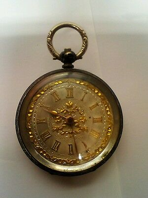 Antique 0800 SILVER cuivre Ladies Pocket Watch.  beautifully marked