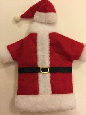 Santa Clause Suit For Wine Bottle Or Doll