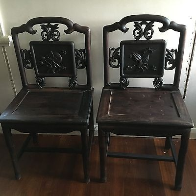 ANTIQUE Rosewood Chinese dated 1880-1900 Hand Carved Chairs