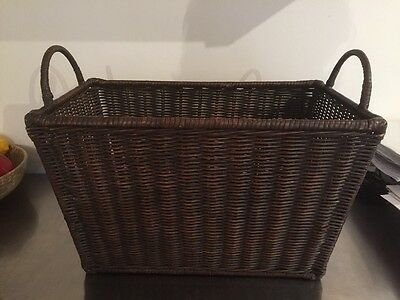 Marks and Spencers Wicker Magazine Newspaper Holder Rack Stand Storage Basket