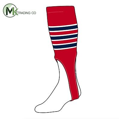 "TCK® X-Large, 700D, 9"" - Scarlet Red–White–Navy Blue - MLB® Baseball Stirrups"