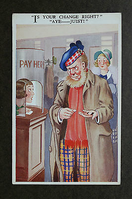 """""""Is your Change Right?"""" """"Aye--Juist!"""" Scottish Humour Vintage Postcard #9689"""