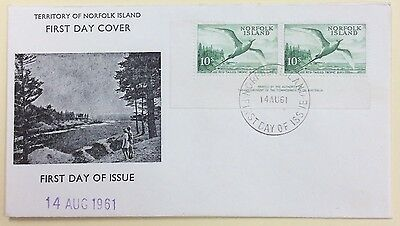 1961 Norfolk Island 10s bird unaddressed quality FDC imprint pair  (1528)