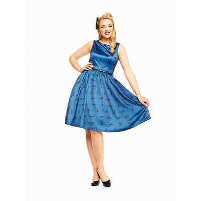 Lindy Bop 'Audrey' Midnight Blue Cat Print Swing/Retro/50s style/Vintage Dress