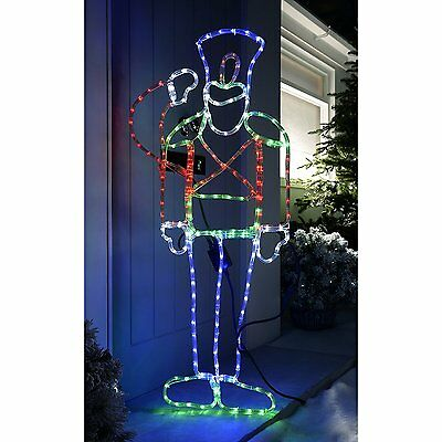Outdoor Christmas Animated Saluting Soldier Rope Light LED Sihouette Xmas Large