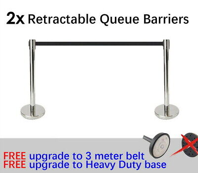 2x Queue Barriers Crowd Control stanchions Stainless Steel 3m Retractable Belt