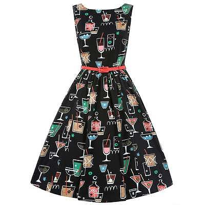 Lindy Bop 'Audrey' Black Cocktail Swing/Rockabilly/Retro/50s Style/ Dress
