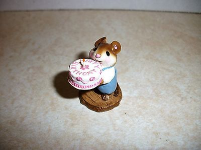 Wee Forest Folk M-083 Happy Birthday! Mouse Blue WP Retired