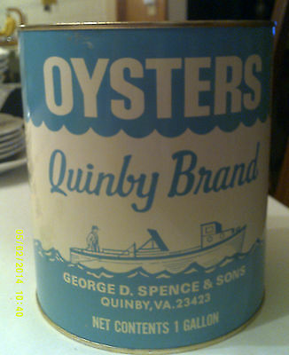Quinby Brand One Gallon Oyster Tin Can