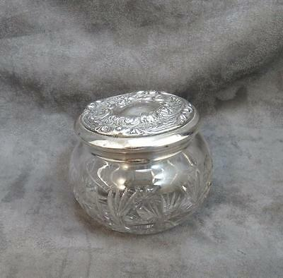 Antique Vintage  Sterling Silver Lid Crystal Dresser Jar 3.5 x 3.25""