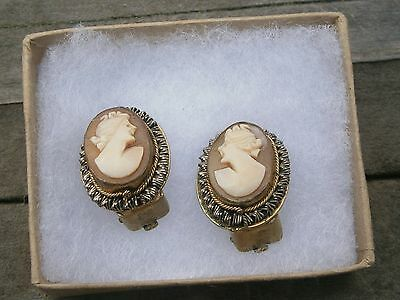 Antique Victorian Carved Shell Cameo Brass Clip On Earrings ~ Petite
