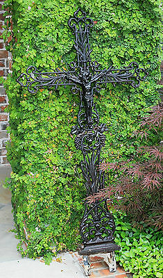 Antique French Cast Iron Cross Crucifix Wall Architectural Garden Chapel Church