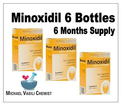 Minoxidil Extra Strength 5% 60ml (6 Bottles) REGAINE *MICHAEL VASILI CHEMIST*