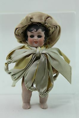 Vintage All Bisque Doll Sleep Eyes And Ribbon Costume