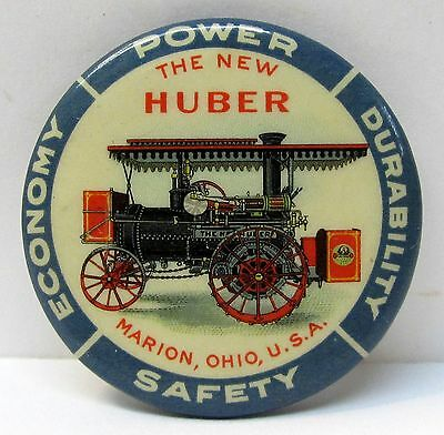 c. 1905 THE NEW HUBER Power Economy STEAM ENGINE farming pocket mirror *