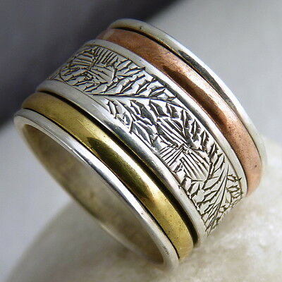 US 5 3/4 ~ Carved SILVERSARI 3-Tone 3-Spin SPINNER Ring ~ 925 Sterling Silver