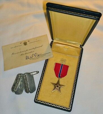 Officially Named Engraved Cased 1940s US Army Bronze Star Medal Officer Dog Tags